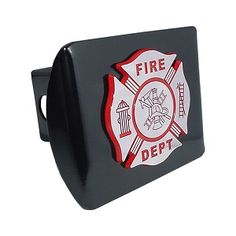 """Firefighter Chrome an Red on Black Hitch Cover. Made in the USA. A step above in quality and appearance. Hitch Covers Front plate 5 x 3.5 Fits standard 2"""" trailer hitch receivers. Made from all metal, Elektroplate's high-end hitch covers are regarded by many consumers as the nicest on the market."""