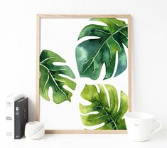 Tropical Leaf Monstera Leaves Office Decor Botanical Print