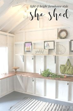 Bright and Light She Shed Makeover This she has gone from cob-web central to farmhouse style she shed perfection. It's got tons of storage and work space, and is the perfect area to do all the relaxing, creating, gardening, and organizing! Craft Shed, Diy Shed, Backyard Sheds, Outdoor Sheds, Home Renovation, Shed Conversion Ideas, Garden Shed Interiors, Shed Office, Office Doors