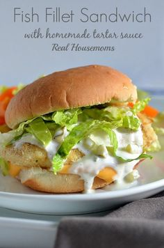 Fish Fillet Sandwich with Homemade Tartar Sauce - yummy. Made tartar sauce with dill pickle relish and added 1 tsp. Next time - the recipe! Copycat Recipes, Fish Recipes, Seafood Recipes, Dinner Recipes, Cooking Recipes, Recipes For Lent, Fish Filet Recipes, Restaurant Recipes, Breakfast Recipes