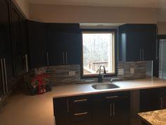 We Installed Ebony Kitchen Cabinets With Glass Mosaic Tile Backsplash