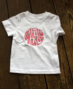 Shirt or Onesie Mon0grammed with Lilly Pulitzer Fabric by SouthernBabyClassics on Etsy