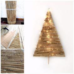 DIY: Alternativen Weihnachtsbaum basteln mit Bambus. Nachhaltiger Tannebaum an der Wand. Winterdeko mit Bambus. #chalet8, #bambus # Tannenbaum #Weihnachtsbaum #Weihnachtsdeko Kitsch, Animal Print Rug, Bamboo, Rugs, Advent, German, Home Decor, Wall Christmas Tree, Triangle Shape