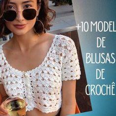 +10 modelos de blusa de crochê com gráfico do ponto Filet Crochet, Easy Crochet, Crochet Stitches, Crochet Bikini Pattern, Crochet Crop Top, Crochet Scarves, Crochet Clothes, Crochet Mask, Meghan Markle Style