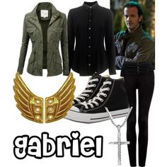 """Gabriel - Supernatural"" by dawn-cuan on Polyvore. I'd try a dark purple/plum top, but the black is nice, too."