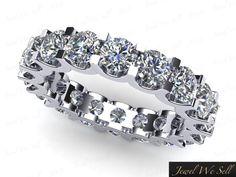 1.90Ct Round Diamond Shared U-Prong Eternity Wedding Band Ring 18k Gold H SI2