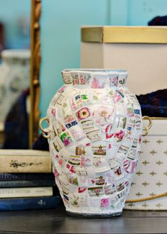 Broken China Mosaic Vase - Made from Vintage Teacups - Romantic Porcelain