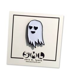 ***BACK IN STOCK!*** here is a super cute enamel pin of my signature lil happy ghost. this heart-eyed lil buddy is so happy to love u! he looks great by himse