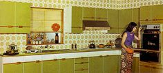 This Wallpaper and kitchen looks just like mine as a kid, except ours was orange.
