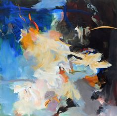 """Ins Blaue (Sapphire),"" abstract painting by artist Ute Laum (Germany) | Take a peek inside her studio: http://magazine.saatchiart.com/articles/artnews/saatchi-art-news/inside-the-studio-saatchi-art-news/ute-laum"