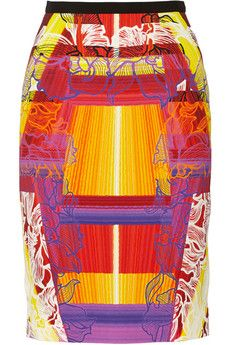 Peter Pilotto Shift printed stretch-cady pencil skirt | THE OUTNET