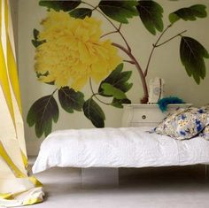 Teenage Bedroom Ideas featuring Flower Wall Mural Picture