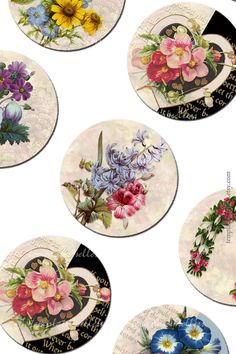 Digital Collage Sheet Vintage Flowers Round 1 by Templates4Sellers, $2.50