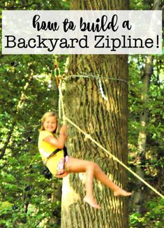 A backyard zipline is so much fun for the kids Kits can be ordered online and easily installed! Here's how to build a backyard zipline! Diy Zipline, Backyard Zipline, Backyard Games, Backyard Treehouse, Backyard Pergola, Zip Line Backyard, Backyard For Kids, Backyard Ideas, Zip Line Kits