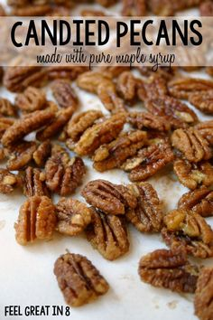Candied Pecans – Made With Pure Maple Syrup! With no refined sugar and heart hea… Candied Pecans – Made With Pure Maple Syrup! With no refined sugar and heart healthy nuts, this is the perfect healthy holiday treat. Heart Healthy Recipes, Healthy Drinks, Whole Food Recipes, Healthy Snacks, Cooking Recipes, Dinner Recipes, Healthy Cooking, Healthy Candy, Keto Candy