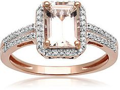 FINE JEWELRY Genuine Morganite and 1/5 CT. T.W. Diamond 10K Rose Gold Ring - A gorgeous choice for the gal who loves pink, this breathtaking genuine morganite ring impresses with its feminine color and incredible sparkle.