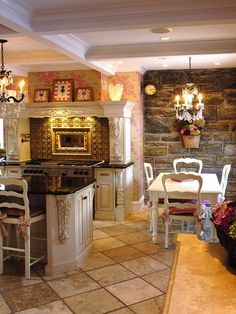 Perhaps with red toile, but definitely love the stone wall. A country French kitchen