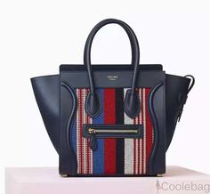 CELINE Smooth Calfskin Textile Striped Micro Luggage Navy Blue ❤ liked on  Polyvore featuring bags and e96acf1d337f5