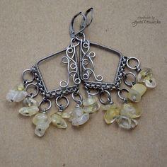 Kolczyki boho, cytryn surowy Wire Wrapped Jewelry, Wire Wrapping, Jewerly, Charmed, Boho, Bracelets, Fashion, Moda, Jewlery