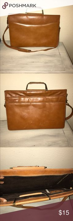 Vintage Leather Brown Briefcase- On Trend Beautiful on trend vintage light brown briefcase. Folio/portfolio style. Would look great at the office. Has some superficial scratches. Bags Laptop Bags