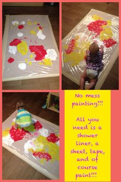 """Pinner states, """"created this NO MESS PAINTING for my infant and toddler classroom. They had a blast mixing the colors and making footprints. The infants even joined the action by having tummy time and exploring the colors. Very easy and cheap idea! Baby Sensory, Sensory Activities, Infant Activities, Classroom Activities, Activities For Kids, Sensory Toys, Infant Toddler Classroom, Toddler Art, Toddler Crafts"""