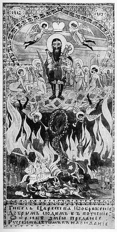WWI; Rasputin caricatured as 'The ruin of Tsardom, a lesson to all good people, the story of the serpent, a warning to Russian children'. ©Mary Evans Picture Library/Yooniq
