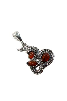 COOL DRAGON GENUINE BALTIC AMBER 925 STERLING SILVER PENDANT