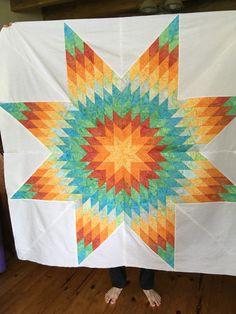 #star  #batik quilt 58 inch for center of a quilt Pattern by #QuiltSmart #58 inch # Lonestar. I added  3'borders #KaffeFassett