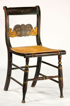 Lambert Hitchcock, Paint-Decorated and Stenciled Fancy Side Chair, Connecticut, ca. 1820