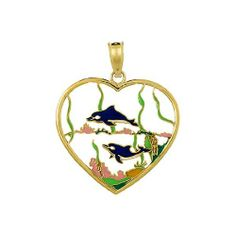 """Amazon.com: Gold Charm Dolphins Heart """"stained Glass"""" With Enamel: Million Charms: Jewelry"""