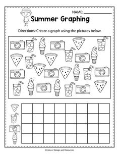 Summer Graphing - Summer Math Worksheets and activities for preschool, kindergarten and 1st grade kids perfect for morning work and math centers. These worksheets are no prep and will help teachers save time during the school year. Summer Math and Literacy pages is a no prep packet packed full of worksheets and printables to help reinforce math skills in a fun way. #summer #endofyear #math #worksheets #kindergarten