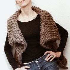 This vest is a great way to try Tunisian Crochet, even if you dont crochet (Check out a tutorial on my blog: knit1la.com on how to Tunisian Crochet.) Worked side to side in one piece this vest uses approximately 300yds/275m of a chunky yarn like Magnum by Cascade (color shown 8013, Walnut Heather) and a size S Tunisian crochet hook (I found mine here on etsy at this shop: shop.mimisneedlebasket.com) this could easily be worked up over a couple of nights. The pattern is a one size but with…
