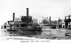 woolwich-ferry-old. This Day in History: Aug English author and poet, E. Nesbit, is born London History, Local History, London Pictures, London Photos, Vintage London, Old London, East End London, Old Boats, Installation Art