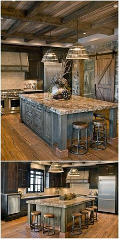 Rustic Farmhouse Living Room Style as well as Decoration Ideas for Your Property - Homes Holic Find farmhouse kitchen dresser only on this page Rustic Kitchen Cabinets, Rustic Kitchen Design, Home Decor Kitchen, Kitchen Countertops, Kitchen Pantry, Kitchen Decorations, Rustic Design, Kitchen Wood, Kitchen Industrial