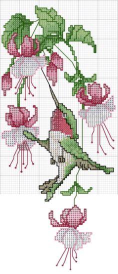 cross stitch hummingbird