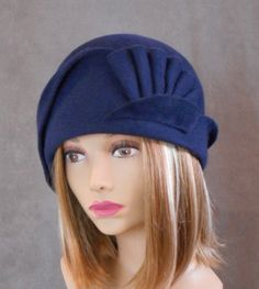 Amber, Velour Felt Cloche with draped pleated swirls, Blue colored millinery hat