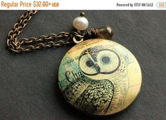 HOLIDAY SALE Bronze Owl Locket Necklace. Owl Necklace with Brown Glass Teardrop and Freshwater Pearl. Handmade Jewelry.