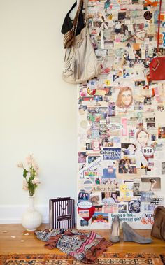 """Cool idea:  Let your kids collage their bedroom door with events, moments, memories as they grow up.  Use the door as """"art"""" later"""