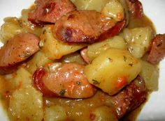 Savory Smoked Sausage and Potatoes.. It's like smoked sausage stew! Definitely in the rotation :-)
