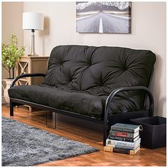 """For the """"office"""" room.  Black Futon Frame With Black Futon Mattress Set at Big Lots."""