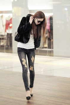 Black ripped jeans #fashion #kfashion #asianstyle #itsmestyle #korean #kpop #womens fashion #lovely #cute #ulzzang #coat #jacket #leggings #pants #shoes #chic #boots #star_style GG's tiny times ♥