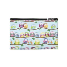 Colorful owls on a branch travel accessories bags #owls #owlgifts #owllovers #giftideas #cosmetics #fashion #accessory