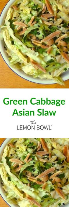 Green Cabbage Asian Slaw Recipe - The Lemon Bowl®