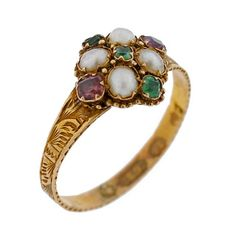 A Brandt and Son - Georgian 15kt Emerald Amethyst & Pearl Cluster Ring