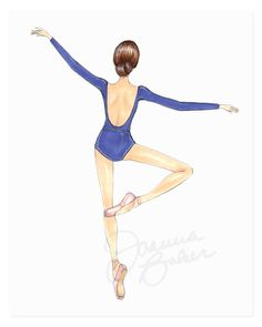 Blue Ballerina Fashion Illustration Art Print – Printed on heavy weight, high quality, fade resistant paper with archival inks – Each print is signed in ink by the artist – Copyright watermark will not appear on your print – Custom framing availa Ballerina Kunst, Ballerina Drawing, Dancer Drawing, Ballet Drawings, Ballerina Painting, Dancing Drawings, Cute Drawings, Ballerina Illustration, Fashion Illustration Sketches