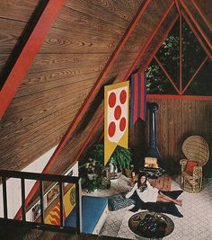 groovy retro: woodgrain, bearskin, wicker chair, ...