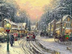 Can You Find The Serial Killers In These Thomas Kinkade Paintings? Thomas Kinkade Disney, Thomas Kinkade Art, Thomas Kinkade Christmas, Christmas Scenes, Noel Christmas, Victorian Christmas, Christmas Lodge, Christmas Ornaments, Kinkade Paintings