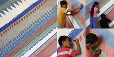 """Children painting the walls of their orphanage in Peru. This happened during one of our creative workshops, made to help underprivileged children to set their creativity free. It inspired us for our """"Mural"""" pattern."""