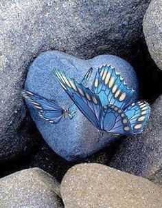 Blue butterflies & blue heart stone