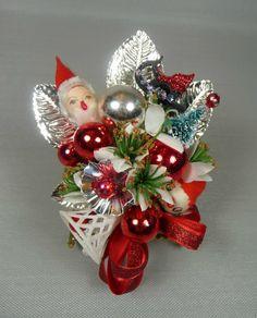 Christmas Corsage Vintage Spun Cotton Santa Elf Sleigh Bottlebrush Tree Retro Red White Silver on Etsy, $28.00